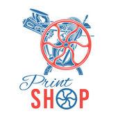 Letterpress print shop vector illustration Vintage printing logo design Rare industrial machine
