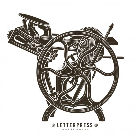 Letterpress printing machine vector illustration. Vintage print logo design.