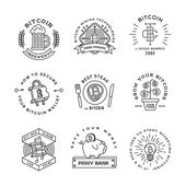 Bitcoin logo templates set Cryptocurrency badge collection Digital money icons Outline coin vector design