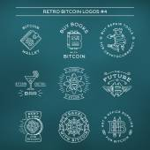 Bitcoin logo templates set Cryptocurrency badge collection Digital money icons Outline coin vector design on navy background