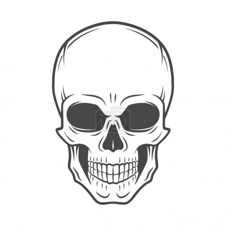 Human evil skull vector. Jolly Roger logo template. death t-shirt design. Pirate insignia concept. Poison icon illustration