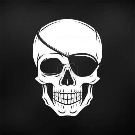 Human evil skull vector. Jolly Roger with eyepatch logo template. death t-shirt design. Pirate insignia concept on black background