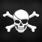 Jolly Roger with eyepatch and crossbones logo template Evil skull vector Dark t-shirt design Pirate icon on black background