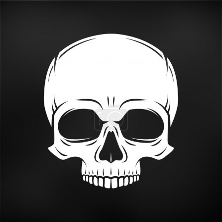 Human evil skull vector. Jolly Roger logo template. death t-shirt design. Pirate insignia concept. Poison icon illustration on black background