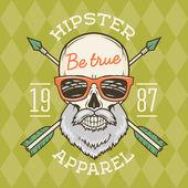 Vintage True bearded Hipster skull vector with geek sunglasses and crossed arrows Crazy deadman insignia template Smiling skeleton badge design Apparel shop logo label