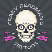 Tattoo parlor logo template Hipster skull with crossed arrows  Cool poster design Apparel shop label