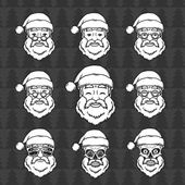 Set of smiling Santa Claus face with round glasses Happy New Year design elements Vintage Xmas mask Christmas t-shirt illustration Skull