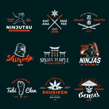 Ensemble de Japon Ninja Logo. Insigne épée Ninjato design. Badge shuriken vintage. Mixed martial art tournament t-shirt illustration sur fond marin