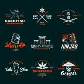Set of Japan Ninja Logo Ninjato sword insignia design Vintage shuriken badge Mixed martial art tournament t-shirt illustration on navy background