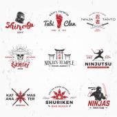 Set of Japanese Ninjas Logo Katana master insignia design Vintage ninja mascot badge Martial art Team t-shirt illustration concept on grunge background