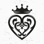 Luckenbooth brooch vector design element Vintage Scottish heart shape with crown symbol logo concept Valentine day or wedding illustration on grunge background