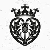 Luckenbooth brooch vector design element Vintage Scottish heart shape with crown and thistle symbol logo concept Valentine day or wedding illustration on grunge background
