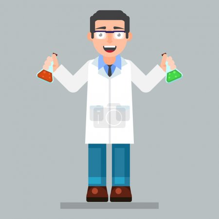 scientist character wearing glasses and lab coat with chemicals
