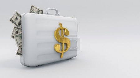 The bag inflates Filled with money And a symbol Silver dollar on