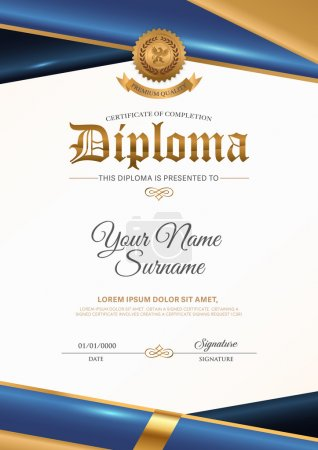 Illustration for Certificate vector luxury template, Certificate premium of gold detailed. Diploma template. - Royalty Free Image