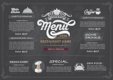 Illustration for Restaurant Food Menu Design with Chalkboard Backgroun - Royalty Free Image