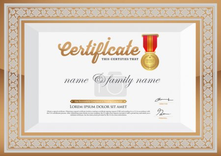 Gold Certificate of Completion Template. thai art element