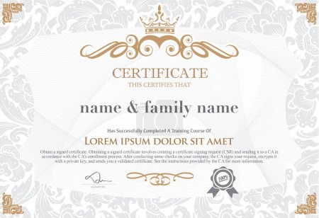 gold certificate template with additional design elements