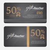 Voucher template with modern vintage pattern. vector