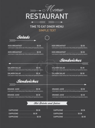 Illustration for Menu restaurant hipster style. - Royalty Free Image
