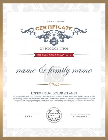 Illustration for Certificate template. Can be rectangular white superimposed on the original text. And can be printed over to the original. - Royalty Free Image