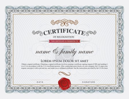 Illustration for Certificate template and element. - Royalty Free Image