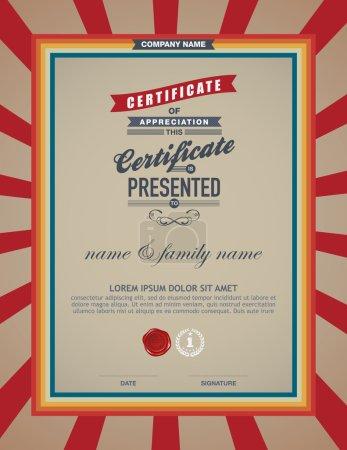 Certificate retro template.