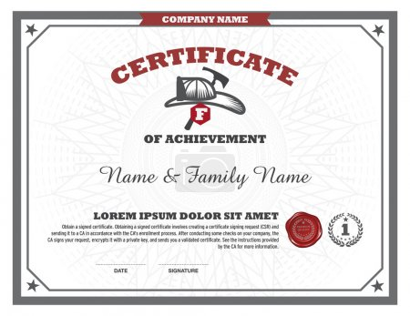 Illustration for Certificate fire man design template - Royalty Free Image