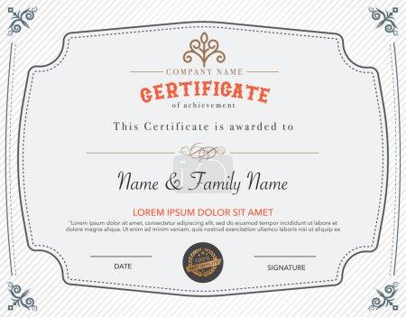 Illustration for Vintage retro  frame art certificate  design template. - Royalty Free Image