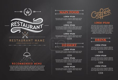Illustration pour Vintage et art restaurant menu design . - image libre de droit