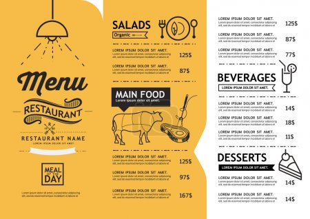 Illustration for Hipster and vintage art restaurant menu design template. - Royalty Free Image