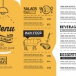 Hipster and vintage art restaurant menu design tem...
