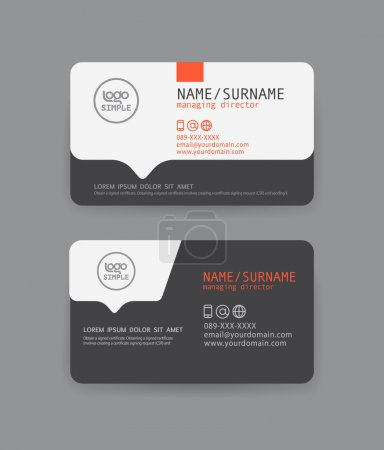 Illustration for Vector modern clean business card template. Flat design - Royalty Free Image