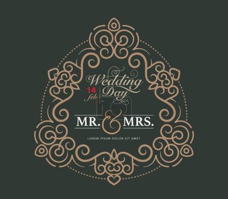 wedding card luxury template flourishes calligraphic elegant orn