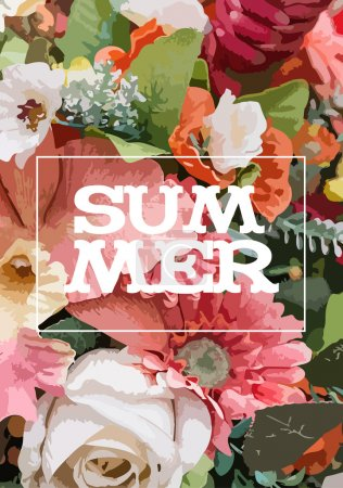 Summer poster flowers on paper in the form of watercolor techniq