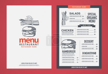 Illustration for Hipster restaurant menu desig - Royalty Free Image