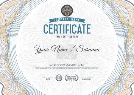 Illustration for Certificate guilloche certificate template. - Royalty Free Image