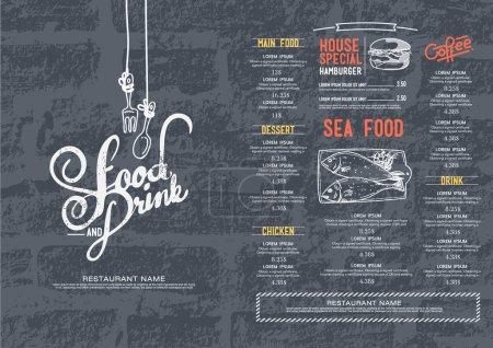 Illustration pour Menu café restaurant, fond de mur de briques et modèle de texture . - image libre de droit