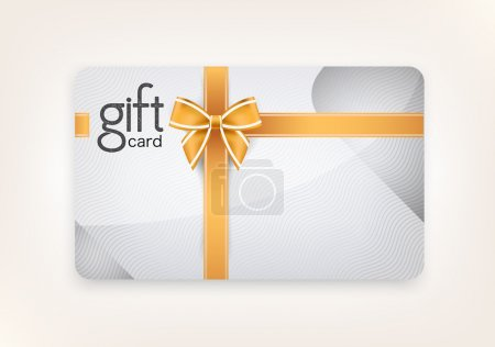 Illustration for Vector gift card of decorated and golld ribbons. - Royalty Free Image
