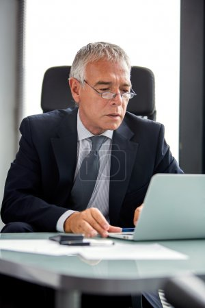 Half length portrait of a thoughtful businessman in the office while using laptop computer