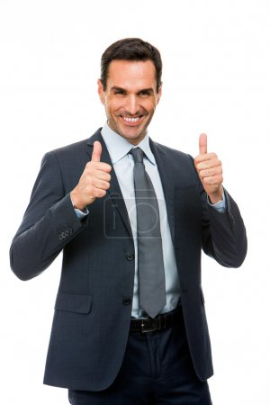 Half length portrait of a businessman smiling and giving ok sign with both hands