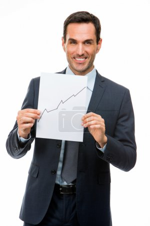 Half length portrait of a businessman holding blank paper with growing chart