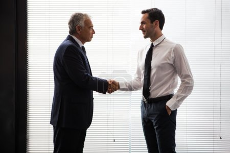 Half length portrait of two businessmen standing up and shaking hands