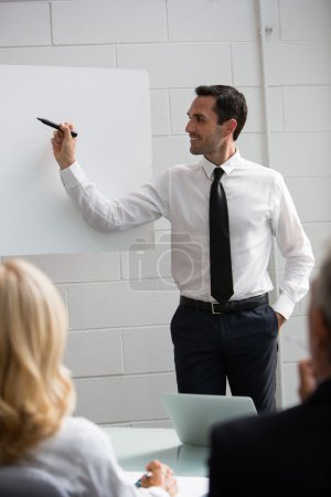 Three businesspeople during a meeting, male manager writing on a blank billboard