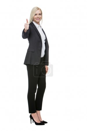 Businesswoman thumb up with one hand