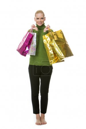 Woman carrying gift bags