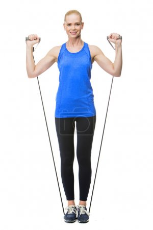 Woman exercising with rubber band