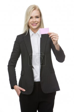 Businesswoman holding a pink card