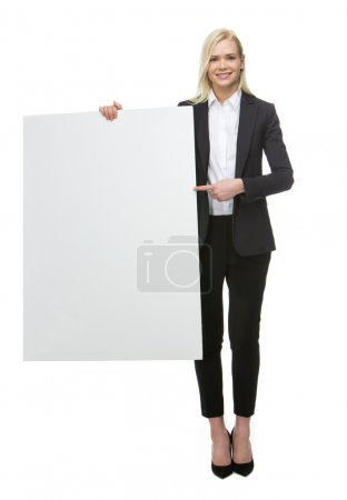 Businesswoman with white placard