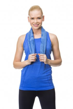 woman wearing fitness clothing